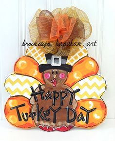 Traditional Thanksgiving Turkey Day Door by BronwynHanahanArt