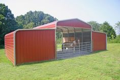 metal building houses Center section: 20 wide x 12 high, Gabled ends Lean-tos: 12 wide x 11 high & slopes to 9 tall. Closed side, front, and back walls Simple yet functional, this Metal Building Kits, Shed Building Plans, Metal Building Homes, Building Design, Metal Horse Barns, Horse Shed, Metal Barn, Wood Shed Plans, Barn Plans