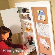 Get organized with this hallway message center. With an erasable calendar mail bin shelving key hooks and corkboards its the perfect spot for keeping track of family activities. Family Message Center, Family Command Center, Command Centers, Family Organizer, Storage Organization, Storage Ideas, Diy Storage, Organizing Ideas, Secret Storage