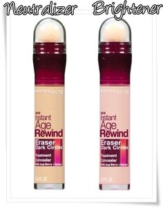 maybelline age rewind concealer in brightener and neutralizer. Use brightener for color corrector and to brighten eyes. Then apply neutralizer to conceal dark circles. I have the neutralizer, and I love it. I just need the brightener :) $8