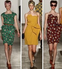 just the patterns on the first and last dresses. though the yellow is a nice colour.