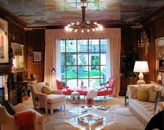 Celerie Kemble Kips Bay Showhouse 2011 featuring eglomise ceiling by Miriam Ellner.