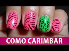 Unhas de Animal Print Neon (como carimbar) - YouTube