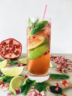 A refreshing mocktail (or cocktail!) with pomegranate and sumac syrup plenty of mint zesty limes and a hint of rose. Non Alcoholic Drinks, Beverages, Cold Drinks, Christmas Brunch, Holiday Cocktails, Cocktail Recipes, Pomegranate, Smoothies, Food And Drink