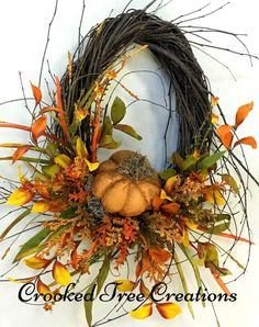 One Of A Kind Wreaths, Arrangements And Floral Decor by CrookedTreeCreation Autumn Wreaths, Wreath Fall, Square Wreath, Crooked Tree, Fall Door Decorations, Pumpkin Wreath, Fall Pumpkins, Door Wreaths, Fall Crafts