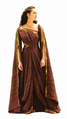 "I never would have guessed that 2006's ""300"" would inspire me, but the queen's costume struck a chord; could replace linen with velvet and maintain texture, convert neckline from asymmetrical to square."