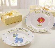 I love the Personalized Ceramic Plate Collection on potterybarnkids.com.  I believe I could make this!