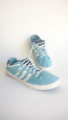 Vintage Adidas trainers, blue sneakers, 1990s low top shoes, tie up adidas  trainers, athletic shoes, skate shoes, EU 38.5