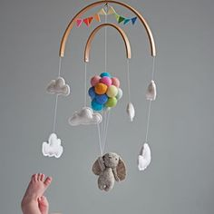 Felt Ball Mobile Star Moon Infant Crib Musical Mobile Baby Cot Mobile Small Foot Forest Animal Mobile Baby Wind Chimes