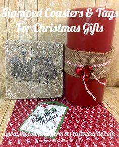 Stamped, Coasters, Tag, Heartland, Merry Mistletoee, Cherry Cobbler, Ribbon, Gift