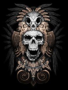 Teskatlipoka by Kamila , via Behance #skull #illustration #dark: