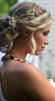 wedding hair idea......you could leave some down, for the half up half down look.....I just like the look of the braid and the rolled front.