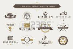 baseball logo: Conjunto de insignias deportivas vintage y etiquetas Vectores