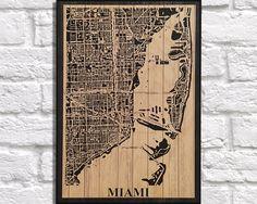 WOOD PRINT Wood map art, Rustic wood print, Miami Florida city map panel effect art print on wood, Home Decor Rustic map of Miami art print by Woodprintz on Etsy