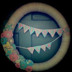 Welcome home baby girl yarn wreath