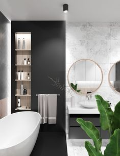 Contemporary bathrooms look clean cut and fresh, always with stylish details too, to pull the finishing look together. Modern contemporary bathrooms can. Contemporary Bathroom Designs, Contemporary Decor, Contemporary Vanity, Contemporary Stairs, Contemporary Cottage, Contemporary Apartment, Contemporary Chandelier, Contemporary Architecture, Bad Inspiration