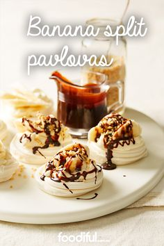 These 5 ingredient pavlovas are the perfect size for an after dinner dessert. Not too big, banana and chocolate sauce top meringue nests and thickened cream and peanuts, top it all off. This recipe serves 8 and takes just 10 minutes to make.
