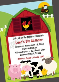 #Custom Farm Birthday #Party Invitations, #barnyard, cow, chicken, sheep, pig - 1,  View more on the LINK: 	http://www.zeppy.io/product/gb/3/186558959/