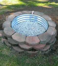 DIY Firepit using Landscaping Rocks.these are the BEST DIY Garden & Yard Ideas! Over 20 of the BEST Garden Ideas & DIY Yard Projects - everything from yard art, planters, garden stones, green houses, & more! Fire Pit Ring, Diy Fire Pit, Fire Pit Backyard, Fire Pits, Cozy Backyard, Garden Yard Ideas, Diy Garden, Garden Projects, Backyard Ideas