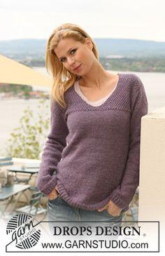 Pull DROPS avec empiècement au point de blé tricoté en «Classic Alpaca» ou DROPS ♥ You #3. Du S au XXXL. ~ DROPS Design