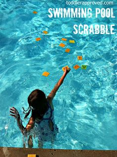 Swimming Pool Scrabble how adorable! Throw in foam letters and have your little ones create words with the letters they catch | toddler approved