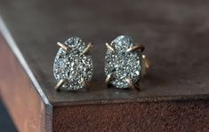 Titanium Silver Druzy Studs in 14kt Gold by LexLuxe on Etsy