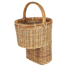 Rattan Step Basket, I'd love one for outside. Line with a trash bag and fill with potting dirt for pansies or something simple.