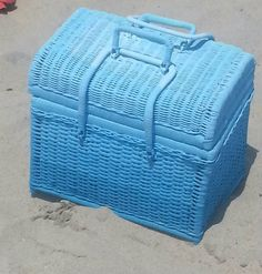 "$52.22+10. 14"" length x10"" width x8""depth. Distressed Vintage PICNIC BASKET, vintage basket, wicker basket, decorative storage, blue decor, beach towel holder, coastal décor, beach"