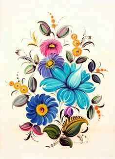 Folk Art Pottery Painting, Tole Painting, Fabric Painting, Polish Folk Art, Ukrainian Art, Embroidery Art, Acrylic Flowers, Easy Paintings, Russian Art