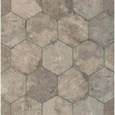 Tesoro Chicago Brick Hexagon x Porcelain Field Tile in South Side Eat In Kitchen, Kitchen And Bath, Kitchen Reno, Kitchen Remodel, Bathroom Fan Light, Master Bathroom, Brick Look Tile, Types Of Bricks, Island Pictures