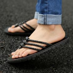 Summer genuine leather flip flops fashion personality gladiator slippers male sandals comfortable slippers $22.64