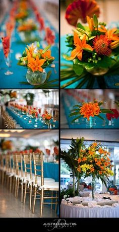 pinner wrote: Summer Blue Gold Orange Centerpiece Centerpieces Chairs Indoor Reception Place Settings Wedding Reception Photos & Pictures - WeddingWire.com