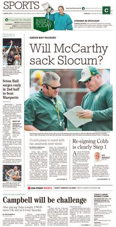 News Design: Green Bay Press-Gazette's January 29, 2015 sports cover