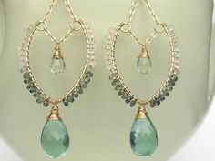 Quartz, Sapphire, Moonstone and 14K Gold Fill Earrings--Handmade, One-of-a-Kind, Leaf Hoops, Faceted Gemstone, Wire Wrap. $72.00, via Etsy.