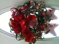Wreath made out of recycled water bottles