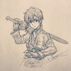 The Black Swordsman. #SAO #Illustration