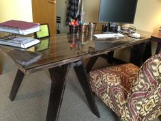 I made this desk from a door and wood sawhorses.