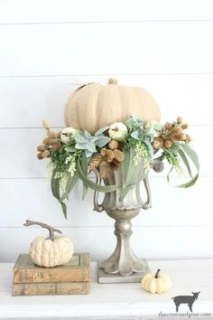 DIY Fall Centerpiece – The Crowned Goat - Thanksgiving Decorations Thanksgiving Decorations, Seasonal Decor, Holiday Decor, Thanksgiving Table, Fall Decorations, Fall Home Decor, Autumn Home, Fall Arrangements, Autumn Decorating