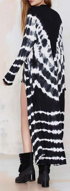 Tie Dyed Maxi Cardigan in Black and White