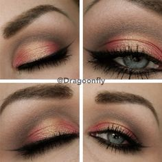 """1⃣Prime the lid, use the """"half baked"""" from naked palette 2 in the middle of the eyelid. 2⃣Take a red shimmer shadow, I've used a red one from my 88 metal mania palette (you can see where too apply it). 3⃣Now you take a light color like """"tease"""" from naked palette 2 and apply it in the crease. Also in the crease you take a darker brown and blend it. 4⃣Take the dark brown under the eye and a light on the browbone. 5⃣ Finish with eyeliner and mascara and you are done!  Hope ..."""