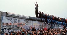 Celebrations on the Berlin Wall after the government announced people could cross the border freely in Germany on Nov. (Photo: Chute Du Mur Berlin / Gamma-Rapho via Getty Images) Berlin Wall Fall, Trump Wall, West Berlin, Shock Wave, East Germany, Berlin Germany, Life Is Tough, Central And Eastern Europe, Germany