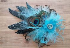 Pale Turquoise & Aqua Peacock Feather Rustic Fascinator Clip Headpiece £22.99