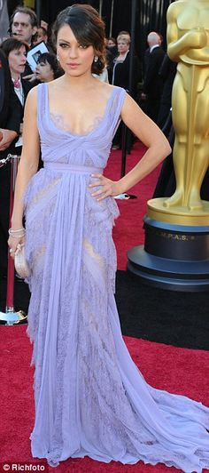MISS: Black Swan actress Mila Kunis's lilac Elie Saab gown was pretty, but a little too sheer, exposing both knickers and flesh