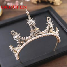 Newest Eiffel Tower Rose Gold Wedding Crowns and Tiaras 2018 Pearls Crystal Jewelry Headpieces Bridal Accessories Pageant Gowns