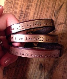 CUSTOMIZE your own hand stamped leather bracelet on Etsy, $18.00