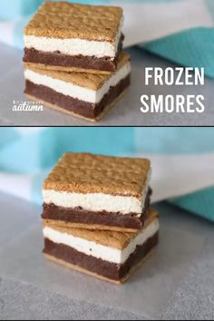Layers of chocolate pudding and marshmallow creme make these frozen s'mores the best way to enjoy a s'more on a hot summer day! # smores Desserts Easy frozen s'more sandwiches - It's Always Autumn Smores Dessert, Dessert Food, Dinner Dessert, Quick Dessert, Smores Cups, Oven Smores, Smores Pie, Smores Cookies, Dessert Dips