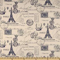 Premier Print French Stamp Sunshine/Navy/Natural -  Fabric.com - I like this for Francesca's closet