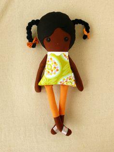 Tecido Boneca de pano Boneca Menina de Cabelo preta com Tranças os verdes Geométrica Top