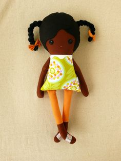 Fabric Doll Rag Doll Black Haired Girl with Braids in Green Geometric Top