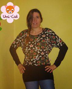 Bat-Shirt, Oberteil mit fledermausärmeln / Fledermausärmel nähen (2 saumvarianten möglich) I 34-44 - Uni-Cat: freebooks